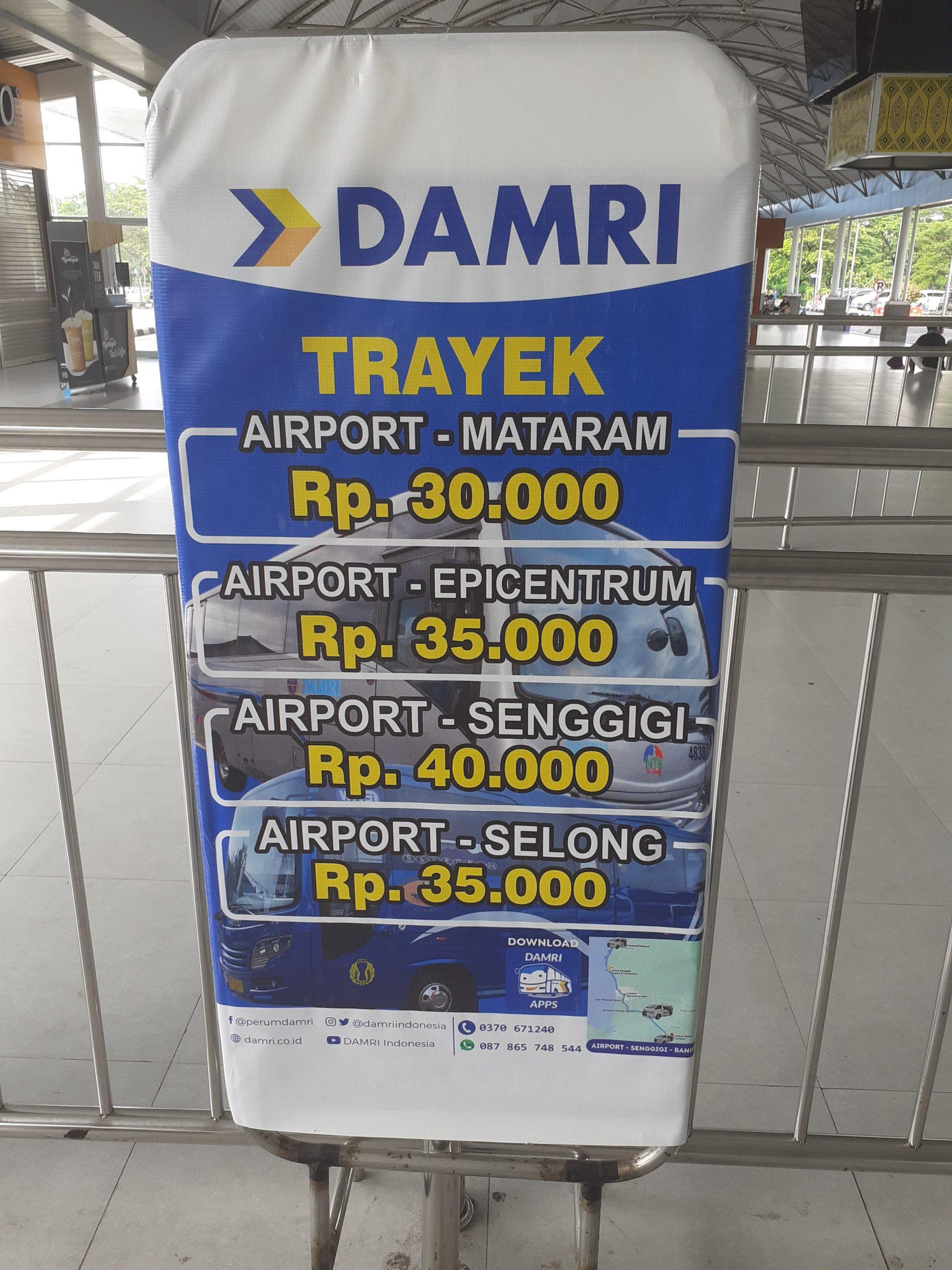 Trayek terbaru bus Damri di Bandara Lombok